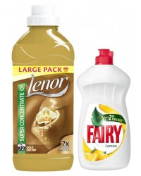 pachet lenor gold 1.5 l si  fairy lemon 450 ml